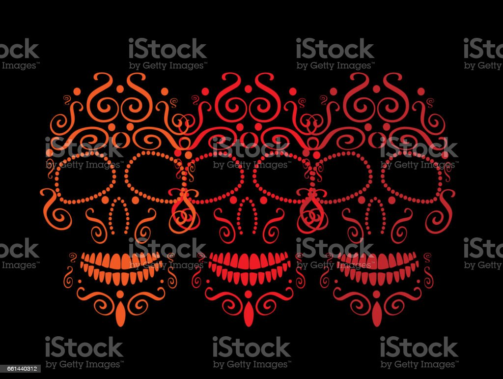 Skull vector background ornament vector art illustration