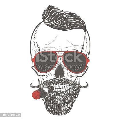 istock Skull vector. Hipster skull in glasses 1312386328