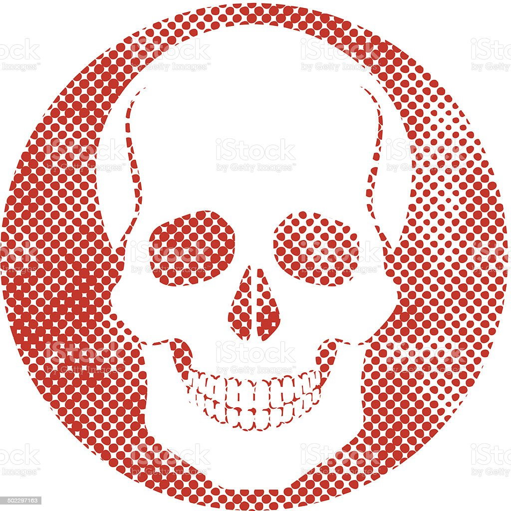 Ilustración de Cráneo Vector Icono Con Textura De Puntos De Semitono ...