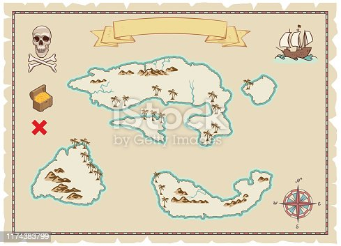Antique map with compass, skull and crossbones, sailing boat and treasure.