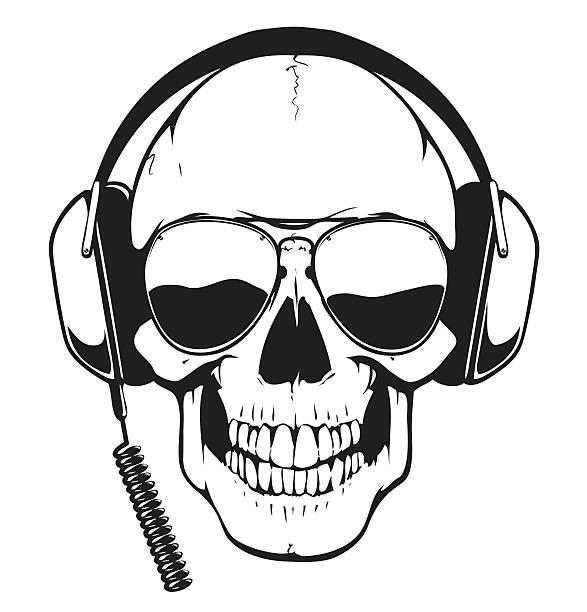 DJ Skull vector art illustration