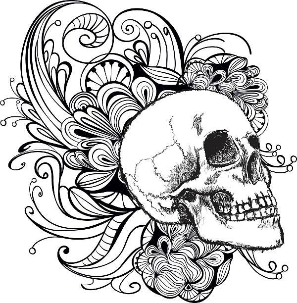 ilustrações, clipart, desenhos animados e ícones de crânio - tatuagens de caveira