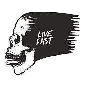 "skull vector illustration and ""Live fast"" lettering"