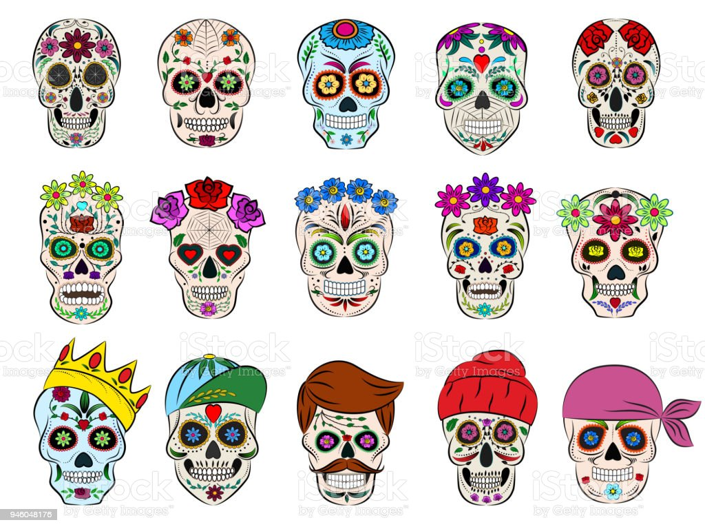 Skull Vector Mexican Flowered Dead Head And Flowering