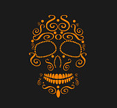 Skull vector orange color
