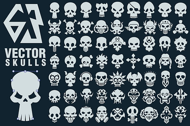Skull Vector Shapes Collection vector art illustration