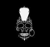 Skull vector with punk mohawk hair