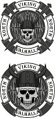 The illustration shows a Viking skull in a horned helmet with a shield and a banner with text and swords. Illustration for tattoo and stickers