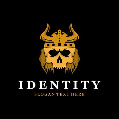 Skull Viking Vector Logo Design