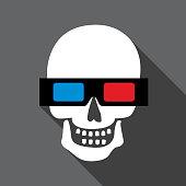 Vector illustration of a human skull wearing 3D glasses.