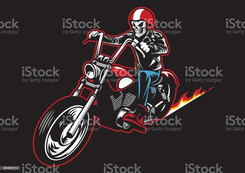 skull wearing a leather biker jacket and ride a motorcycle vector art illustration