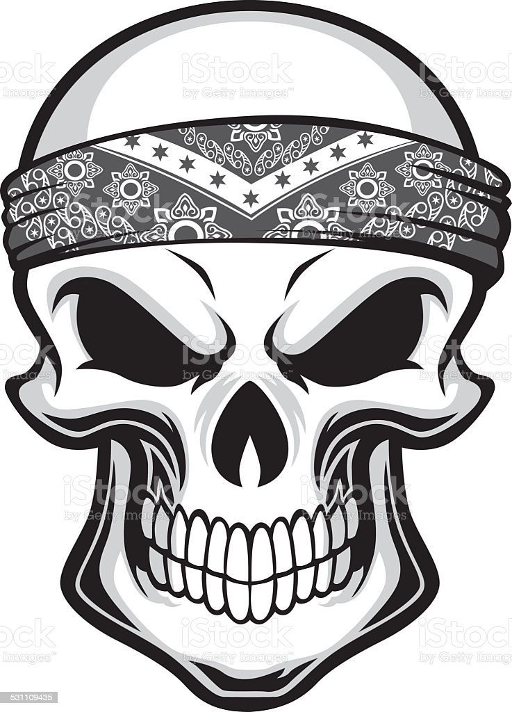 skull wearing bandana vector art illustration