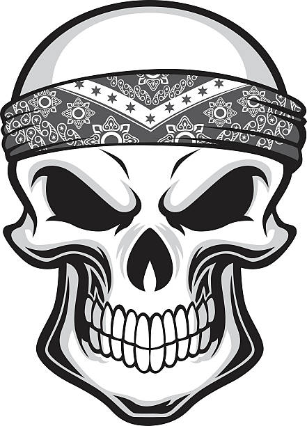 skull wearing bandana vector art illustration
