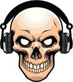 skull wearing headphone
