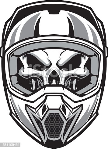 Skull wearing motocross helmet stock vector art 531109451 - Dessin casque moto ...