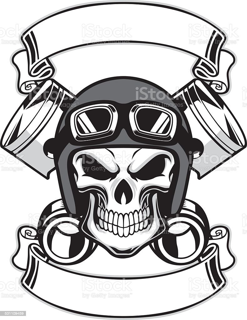 skull wearing retro motorbike helmet vector art illustration