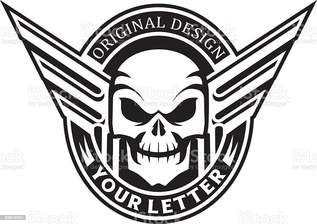 Skull Wings Vintage Emblem Stock Vector Art More Images Of Biker