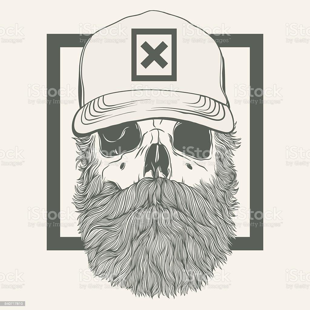 skull with a beard wearing a cap - ilustración de arte vectorial