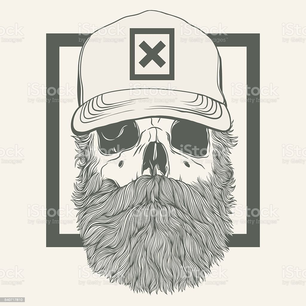 skull with a beard wearing a cap vector art illustration