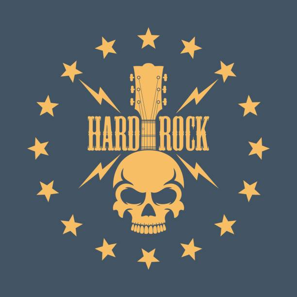 Skull with a guitar and stars with text Illustration on the theme of rock music voodoo stock illustrations