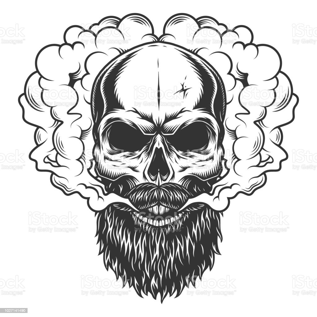 Skull With Beard And Mustache Stock Vector Art & More Images of ...