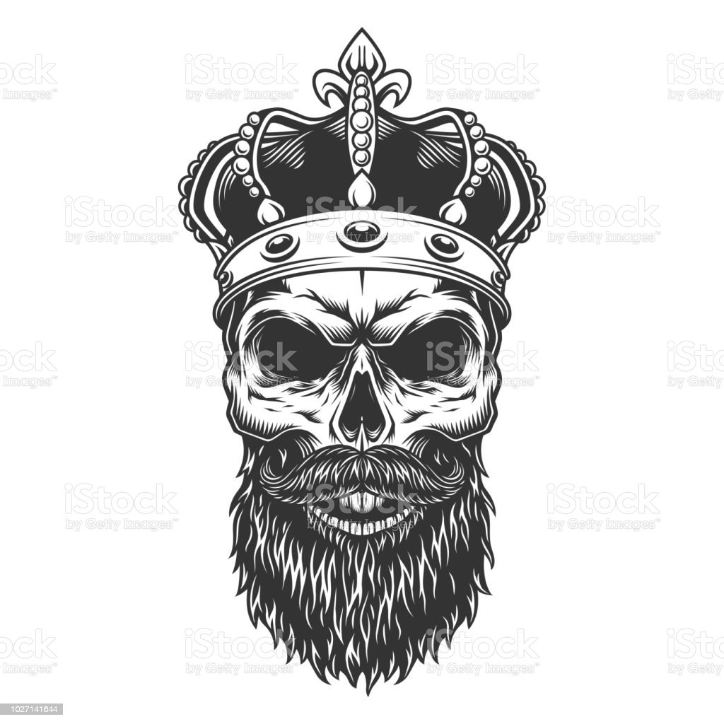 Skull With Beard In The Crown Stock Vector Art & More Images of ...