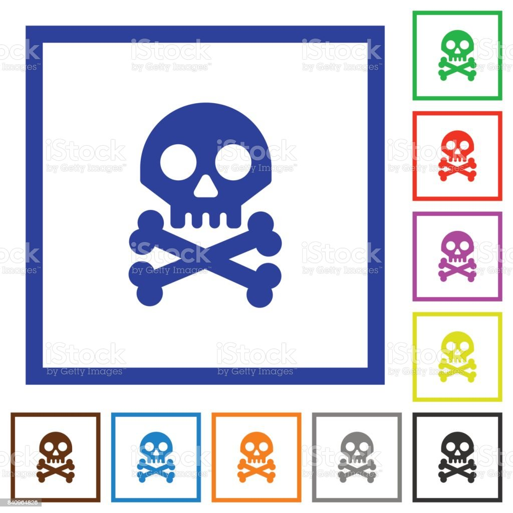 Cráneo Con Los Iconos De Marco Plano Huesos - Arte vectorial de ...