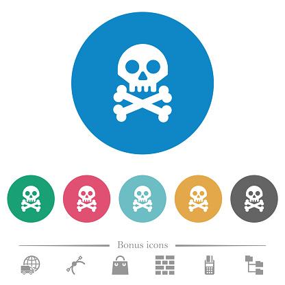 Skull with bones flat round icons