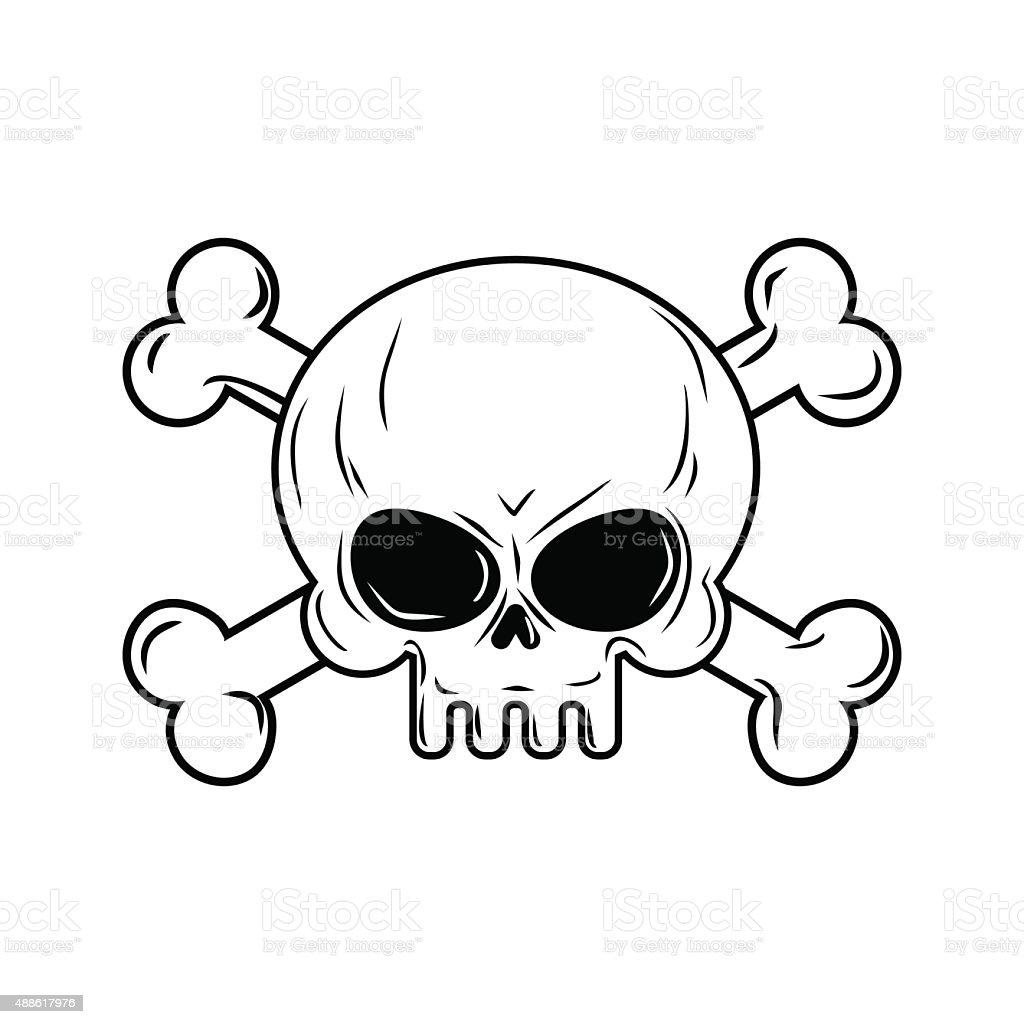 Ilustración de Cráneo Con Los Huesos Piratas Señal Ilustración ...