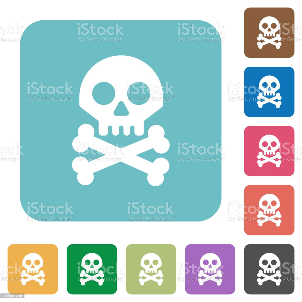 Skull with bones rounded square flat icons vector art illustration