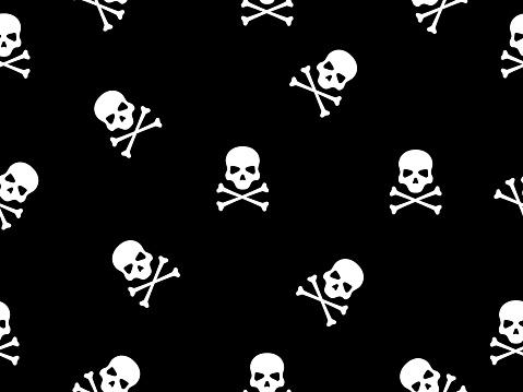 Skull with bones seamless pattern