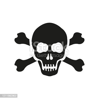 istock Skull with bones sign. Vector illustration 1211562902