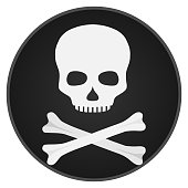 Skull with bones. Skull and bones on a black background.