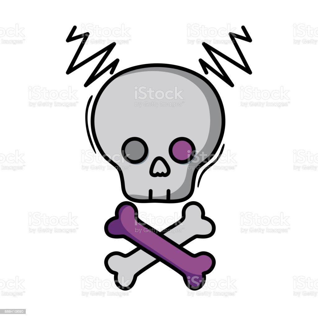 skull with bones to dander symbol to death vector art illustration