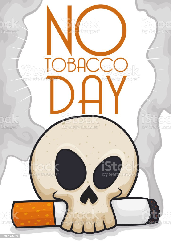 Skull with Cigarette Promoting Not Smoke During No Tobacco Day skull with cigarette promoting not smoke during no tobacco day - stockowe grafiki wektorowe i więcej obrazów baner royalty-free