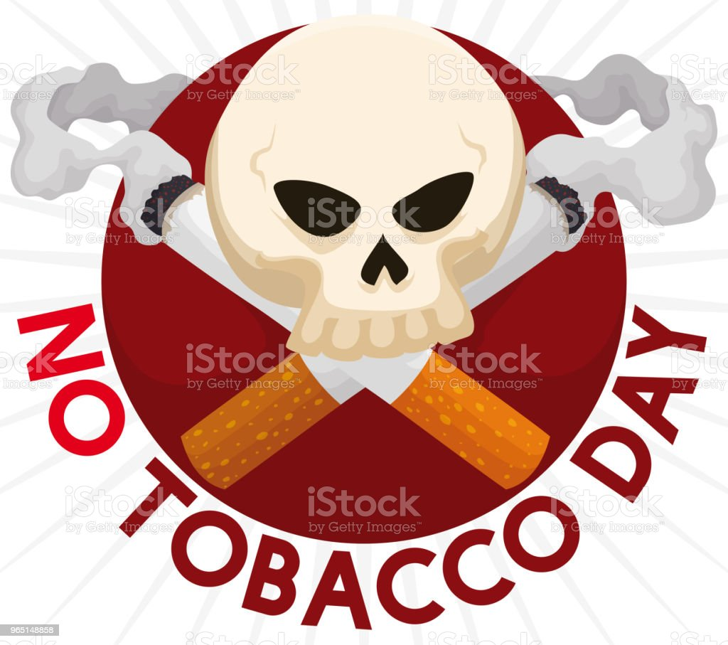 Skull with Cigarettes like Death Symbol for No Tobacco Day royalty-free skull with cigarettes like death symbol for no tobacco day stock vector art & more images of addict