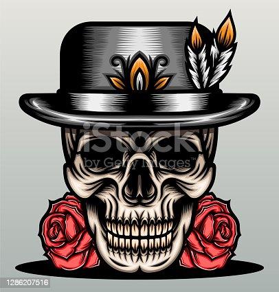Skull with classic top hat. Premium vector