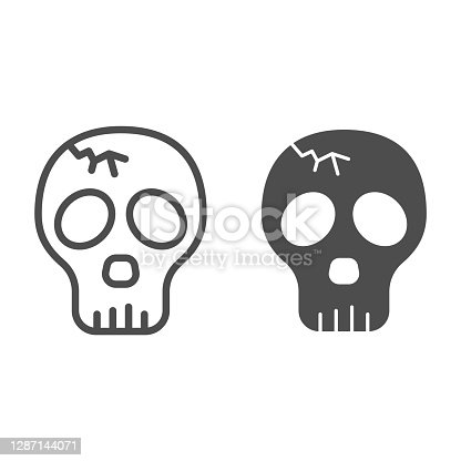 Skull with crack line and solid icon, halloween concept, cracked skull without lower jaw sign on white background, dead head icon in outline style for mobile concept and web design. Vector graphics