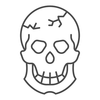 Skull with crack on forehead thin line icon, halloween concept, cracked skull sign on white background, dead head icon in outline style for mobile concept and web design. Vector graphics.
