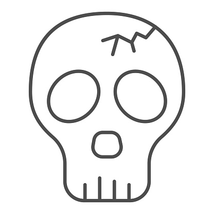 Skull with crack thin line icon, halloween concept, cracked skull without lower jaw sign on white background, dead head icon in outline style for mobile concept and web design. Vector graphics.