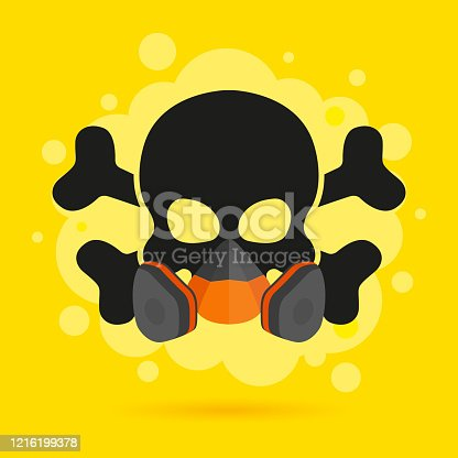 Skull with crossbones in a respirator on a yellow background. The concept of personal protection from smoke, gas, virus