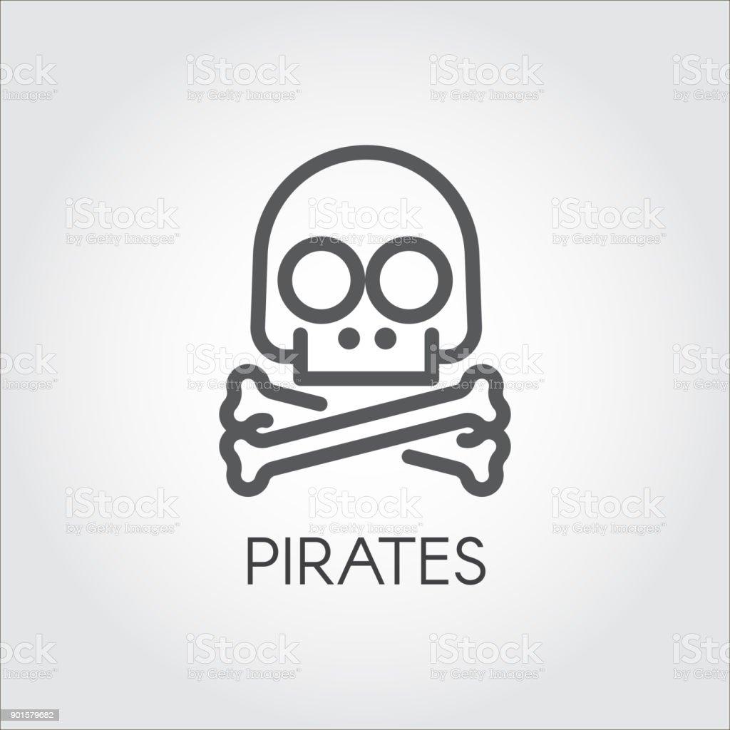 Totenkopf Mit Gekreuzten Knochen Liniensymbol Symbol Der Piraterie ...