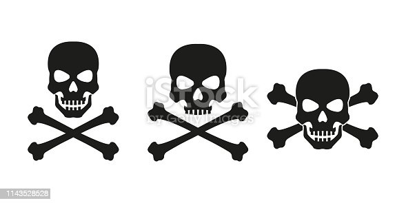 Skull with crossed bones icon set. Death, pirate and danger symbol. Skeleton head. Vector illustration.