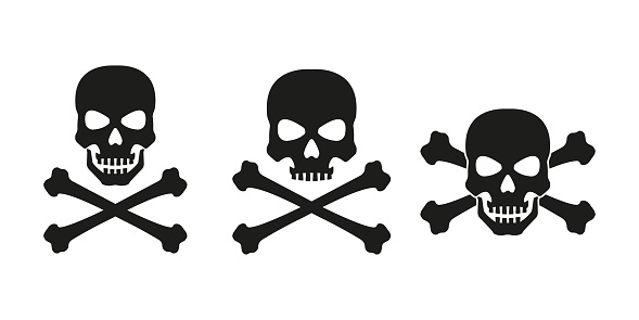 Skull with crossed bones icon set. Death, pirate and danger symbol. Skeleton head. Vector illustration.