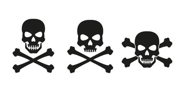 Skull with crossed bones icon set. Death, pirate and danger symbol. Skeleton head. Vector illustration. Skull with crossed bones icon set. Death, pirate and danger symbol. Skeleton head. Vector illustration. dead stock illustrations