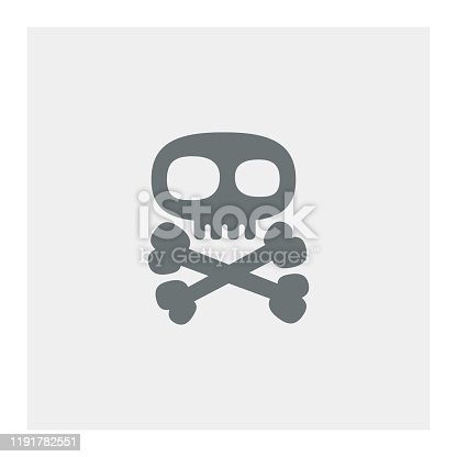Skull with crossed bones icon,vector illustration. EPS 10.