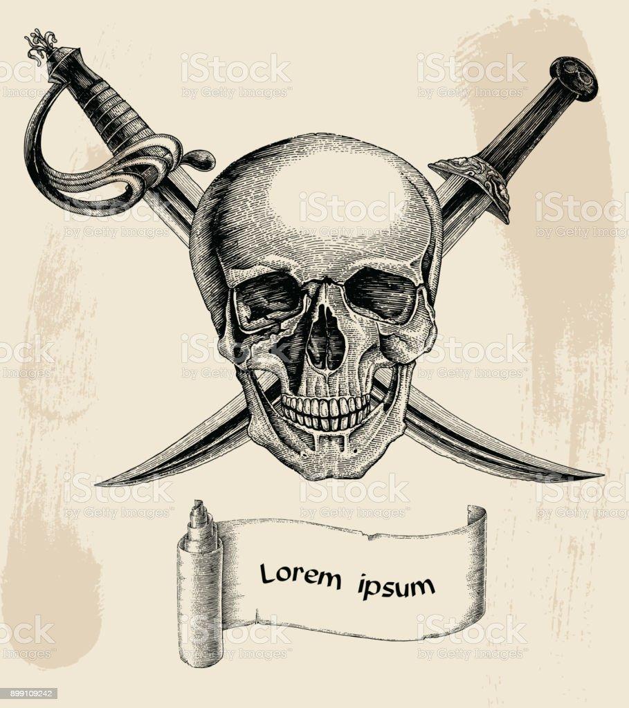skull with crossed swordspirate symbollogo hand drawing vintage