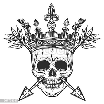 istock Skull with crown and arrows. Prince with corona in monochrome style. Isolated on white background 1267758397