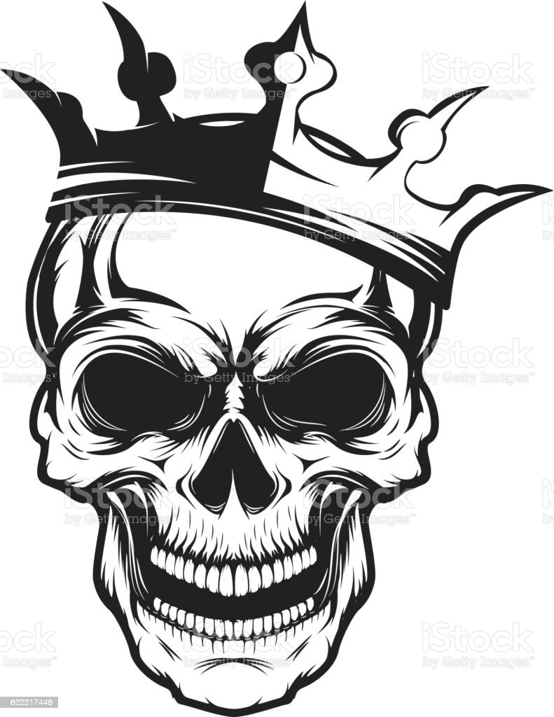 skull with crown design element for emblem stock vector
