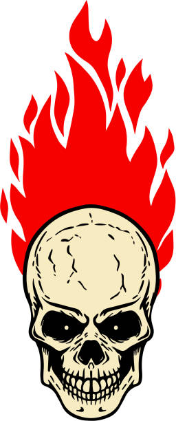 schädel mit feuer auf weißem hintergrund. gestaltungselement für abzeichen, emblem, label und zeichen. - totenkopf tattoos stock-grafiken, -clipart, -cartoons und -symbole